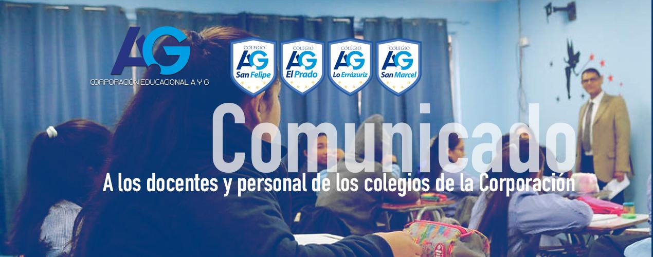 A los docentes y personal de los Colegios de La Corporación.