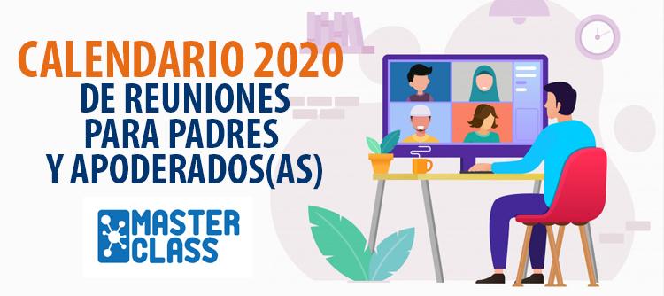 Calendario 2020 de reuniones para Padres y Apoderados(as)